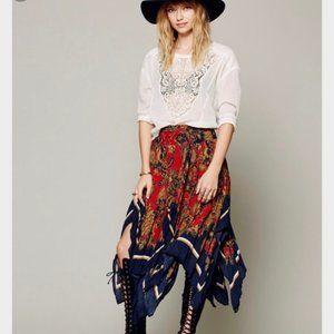 Free People Fly Away Boho Print Handkerchief Skirt